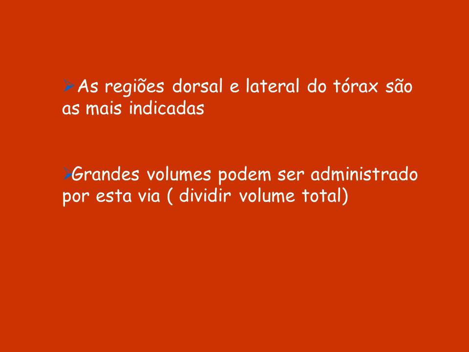 As regiões dorsal e lateral do tórax são as mais indicadas Grandes volumes podem ser administrado por esta via ( dividir volume total)