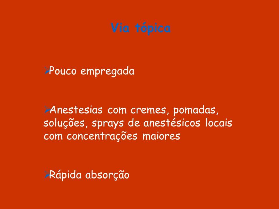 Via tópica Pouco empregada Anestesias com cremes, pomadas, soluções, sprays de anestésicos locais com concentrações maiores Rápida absorção