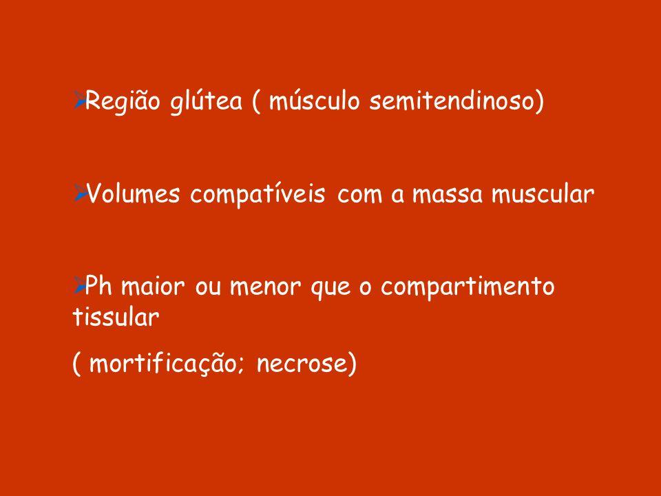 Região glútea ( músculo semitendinoso) Volumes compatíveis com a massa muscular Ph maior ou menor que o compartimento tissular ( mortificação; necrose
