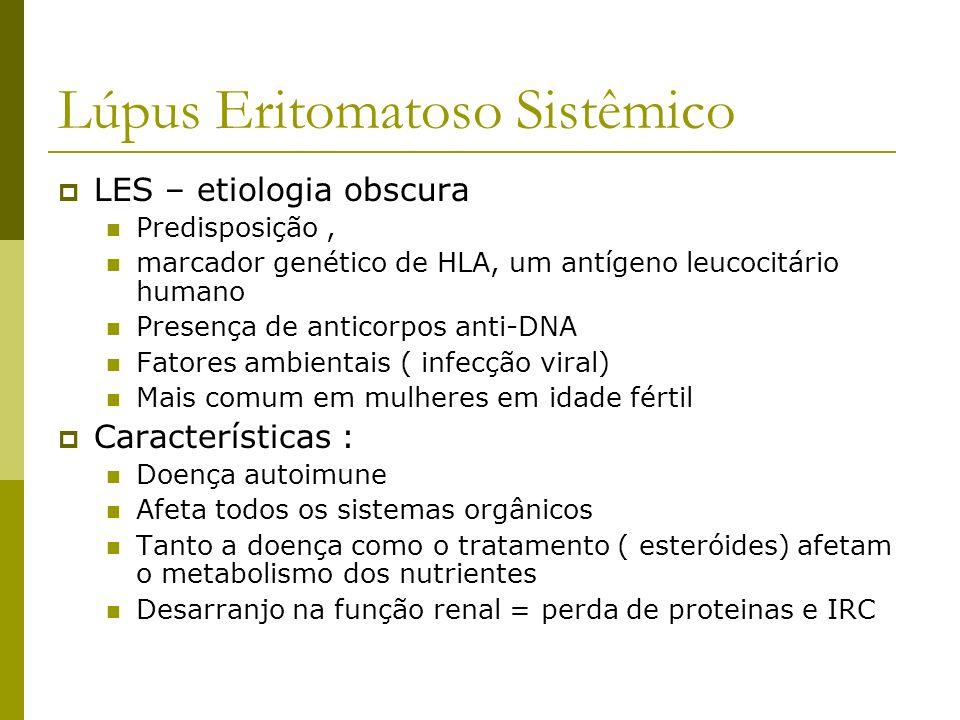 Lúpus Eritomatoso Sistêmico LES – etiologia obscura Predisposição, marcador genético de HLA, um antígeno leucocitário humano Presença de anticorpos an