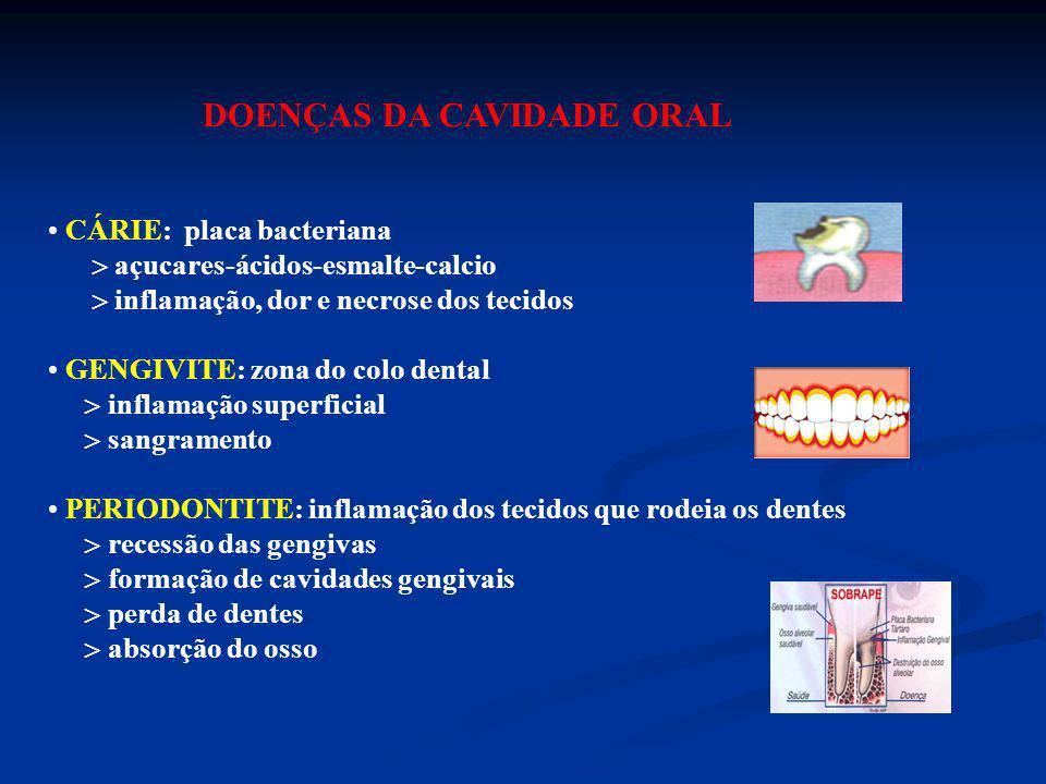 DOENÇAS DA CAVIDADE ORAL CÁRIE: placa bacteriana açucares-ácidos-esmalte-calcio inflamação, dor e necrose dos tecidos GENGIVITE: zona do colo dental i