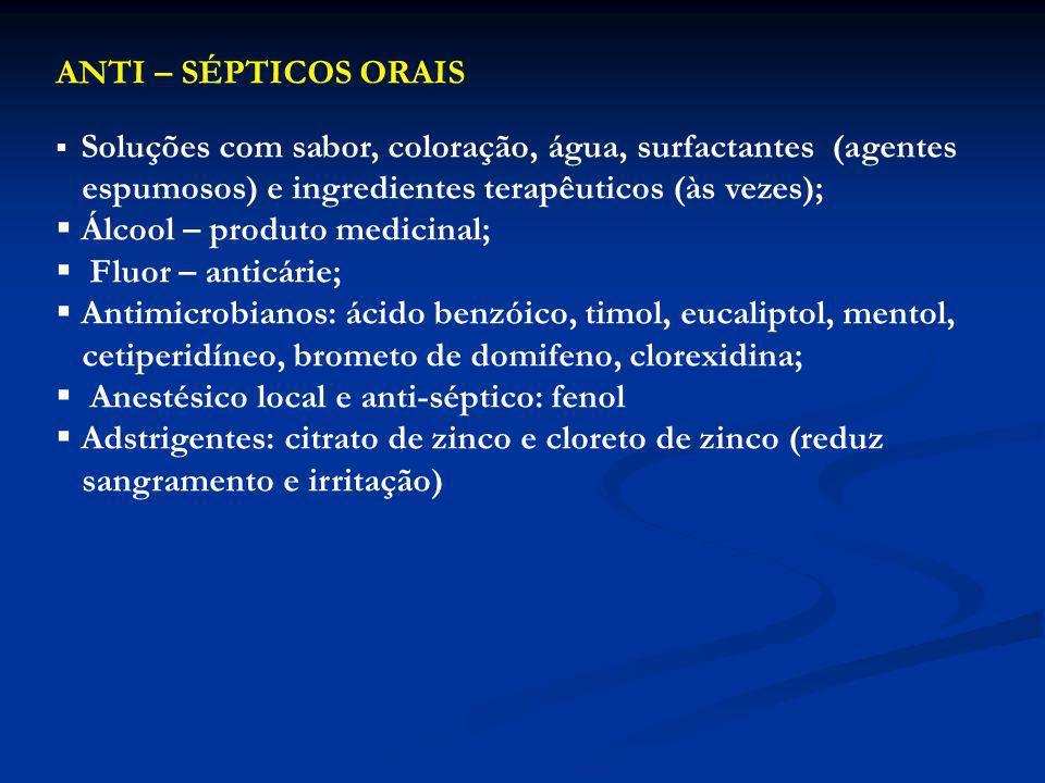 ANTI – SÉPTICOS ORAIS Soluções com sabor, coloração, água, surfactantes (agentes espumosos) e ingredientes terapêuticos (às vezes); Álcool – produto m