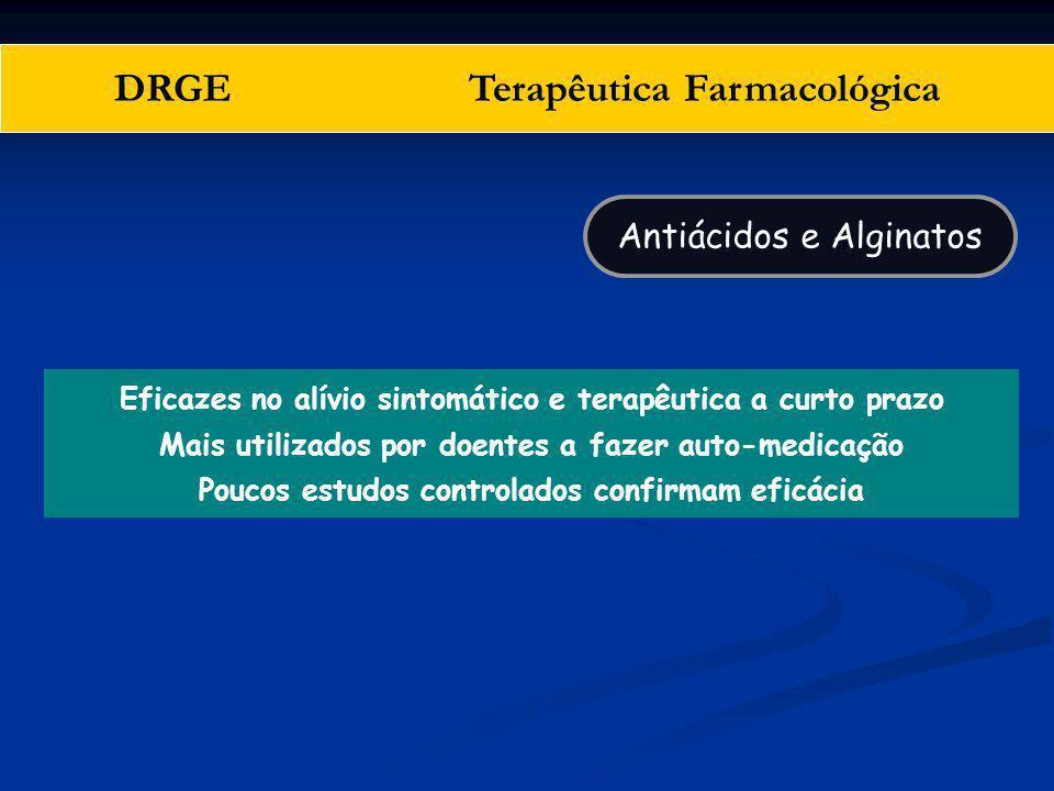 DRGE Terapêutica Farmacológica Eficazes no alívio sintomático e terapêutica a curto prazo Mais utilizados por doentes a fazer auto-medicação Poucos es
