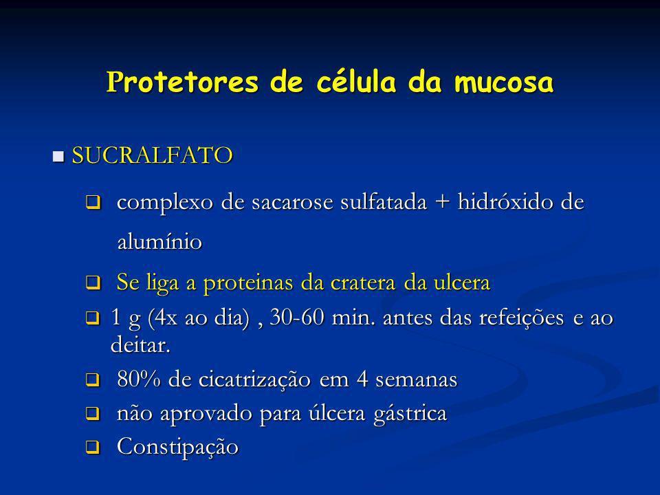 P rotetores de célula da mucosa SUCRALFATO SUCRALFATO complexo de sacarose sulfatada + hidróxido de complexo de sacarose sulfatada + hidróxido de alum