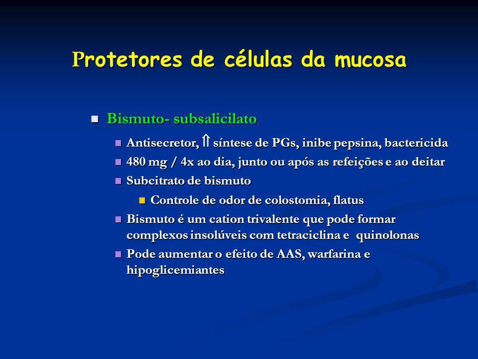 P rotetores de células da mucosa Bismuto- subsalicilato Bismuto- subsalicilato Antisecretor, síntese de PGs, inibe pepsina, bactericida Antisecretor,