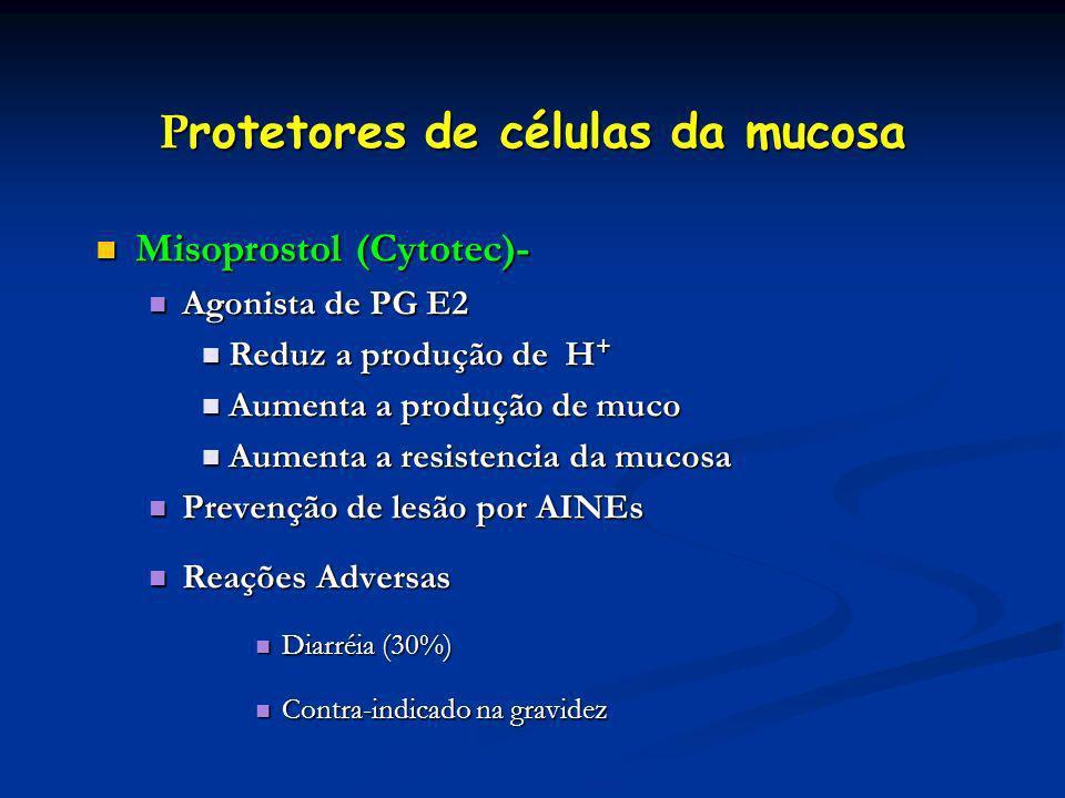 P rotetores de células da mucosa Misoprostol (Cytotec)- Misoprostol (Cytotec)- Agonista de PG E2 Agonista de PG E2 Reduz a produção de H + Reduz a pro
