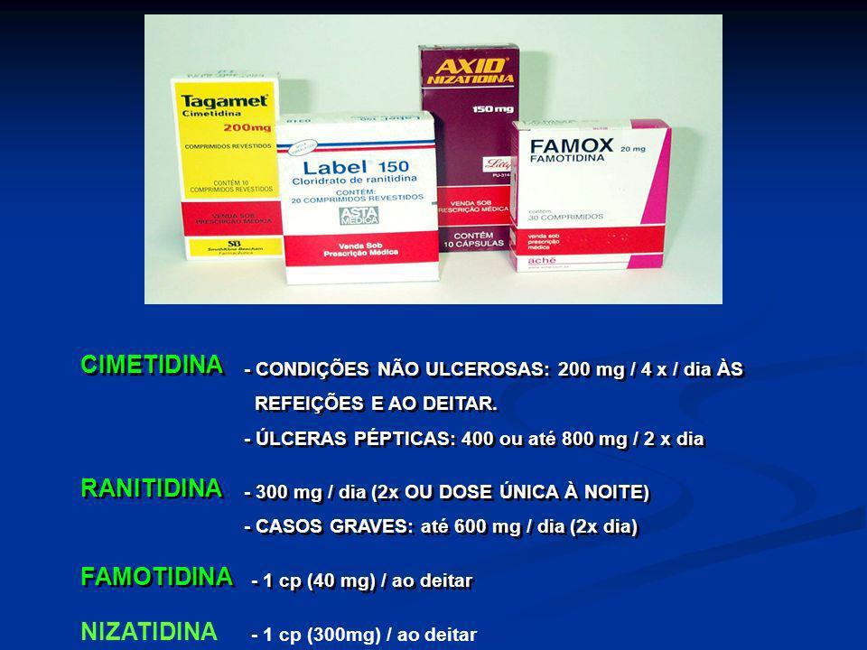 CIMETIDINA - CONDIÇÕES NÃO ULCEROSAS: 200 mg / 4 x / dia ÀS REFEIÇÕES E AO DEITAR. - ÚLCERAS PÉPTICAS: 400 ou até 800 mg / 2 x dia - CONDIÇÕES NÃO ULC