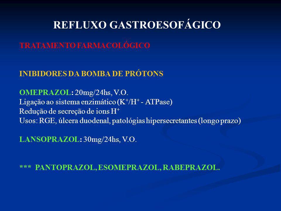 REFLUXO GASTROESOFÁGICO TRATAMENTO FARMACOLÓGICO INIBIDORES DA BOMBA DE PRÓTONS OMEPRAZOL: 20mg/24hs, V.O. Ligação ao sistema enzimático (K + /H + - A