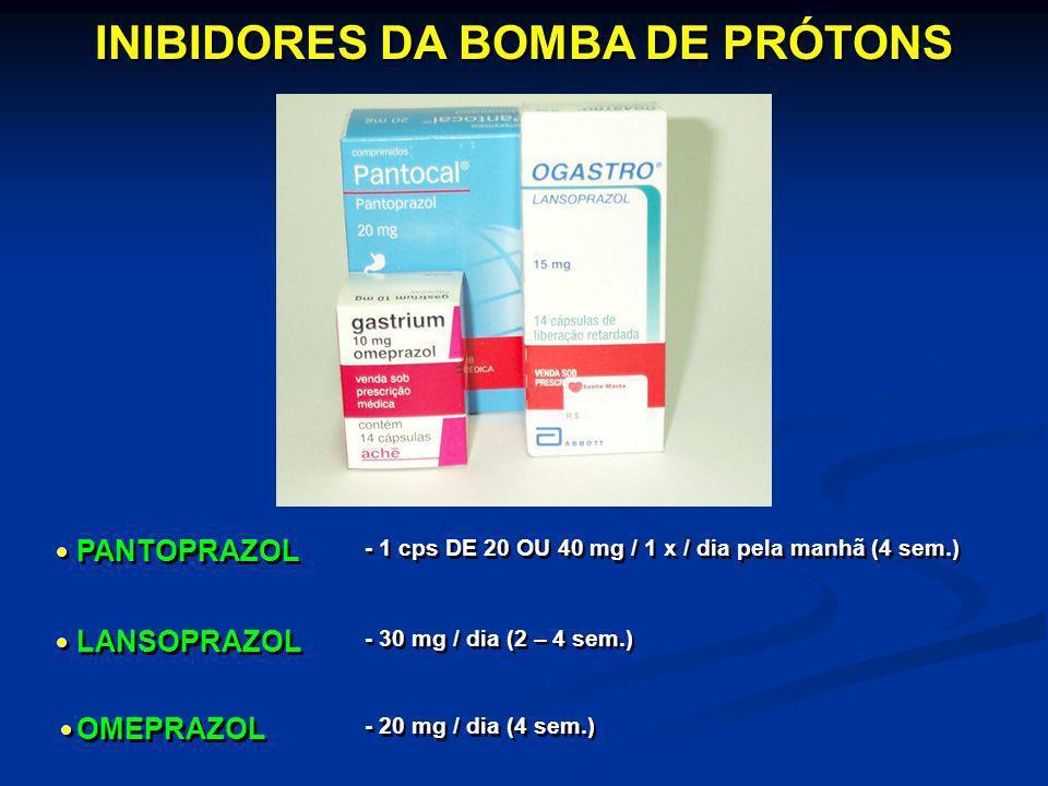 INIBIDORES DA BOMBA DE PRÓTONS PANTOPRAZOL LANSOPRAZOL - 1 cps DE 20 OU 40 mg / 1 x / dia pela manhã (4 sem.) - 30 mg / dia (2 – 4 sem.) OMEPRAZOL - 2