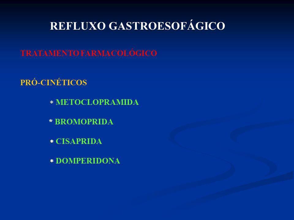 REFLUXO GASTROESOFÁGICO TRATAMENTO FARMACOLÓGICO PRÓ-CINÉTICOS METOCLOPRAMIDA * BROMOPRIDA CISAPRIDA DOMPERIDONA