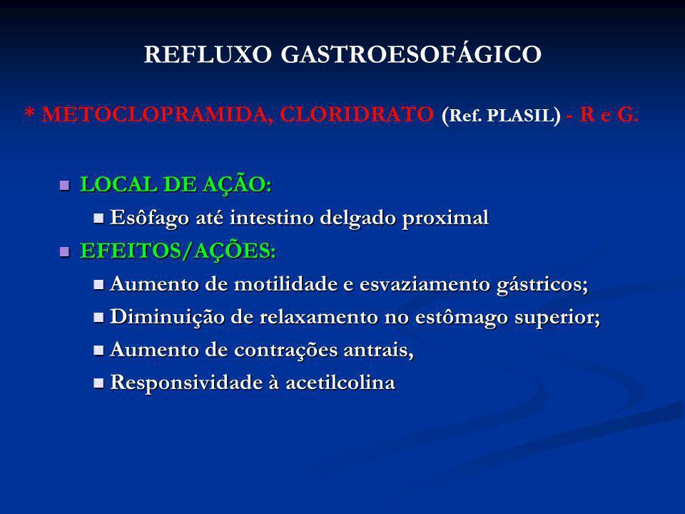 * METOCLOPRAMIDA, CLORIDRATO ( Ref. PLASIL ) - R e G. LOCAL DE AÇÃO: LOCAL DE AÇÃO: Esôfago até intestino delgado proximal Esôfago até intestino delga