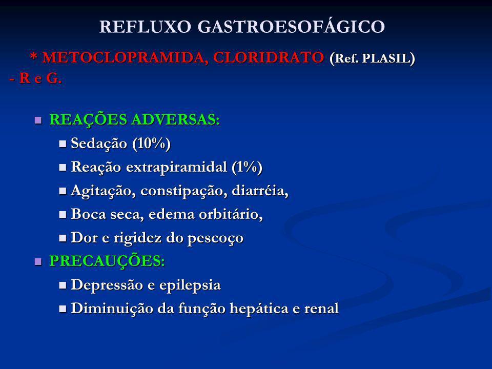 * METOCLOPRAMIDA, CLORIDRATO ( Ref. PLASIL ) * METOCLOPRAMIDA, CLORIDRATO ( Ref. PLASIL ) - R e G. REAÇÕES ADVERSAS: REAÇÕES ADVERSAS: Sedação (10%) S