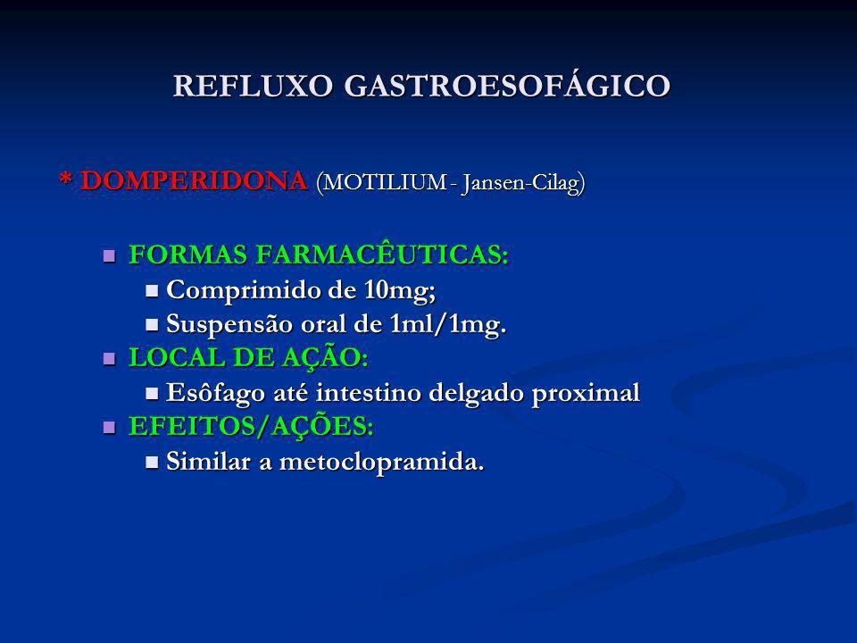 * DOMPERIDONA ( MOTILIUM - Jansen-Cilag ) FORMAS FARMACÊUTICAS: FORMAS FARMACÊUTICAS: Comprimido de 10mg; Comprimido de 10mg; Suspensão oral de 1ml/1m