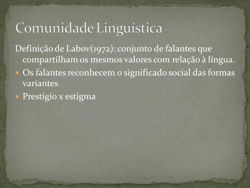 Definição de Labov(1972): conjunto de falantes que compartilham os mesmos valores com relação à língua. Os falantes reconhecem o significado social da