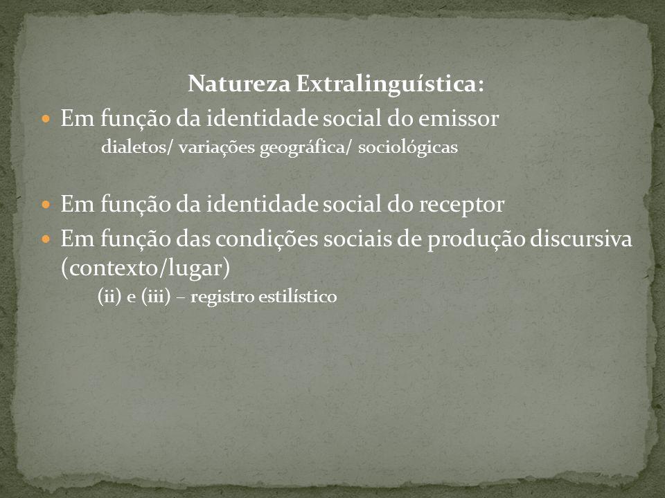 Natureza Extralinguística: Em função da identidade social do emissor dialetos/ variações geográfica/ sociológicas Em função da identidade social do re