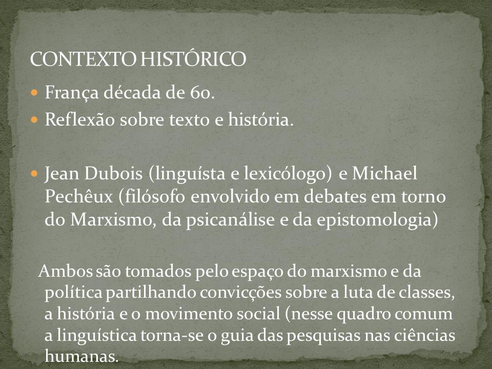 França década de 60. Reflexão sobre texto e história. Jean Dubois (linguísta e lexicólogo) e Michael Pechêux (filósofo envolvido em debates em torno d