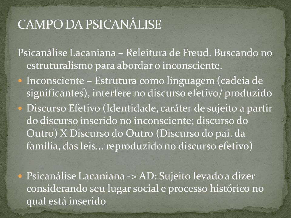 Psicanálise Lacaniana – Releitura de Freud. Buscando no estruturalismo para abordar o inconsciente. Inconsciente – Estrutura como linguagem (cadeia de