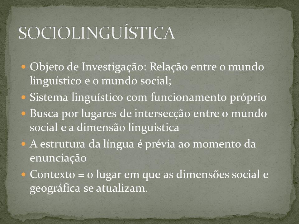Objeto de Investigação: Relação entre o mundo linguístico e o mundo social; Sistema linguístico com funcionamento próprio Busca por lugares de interse