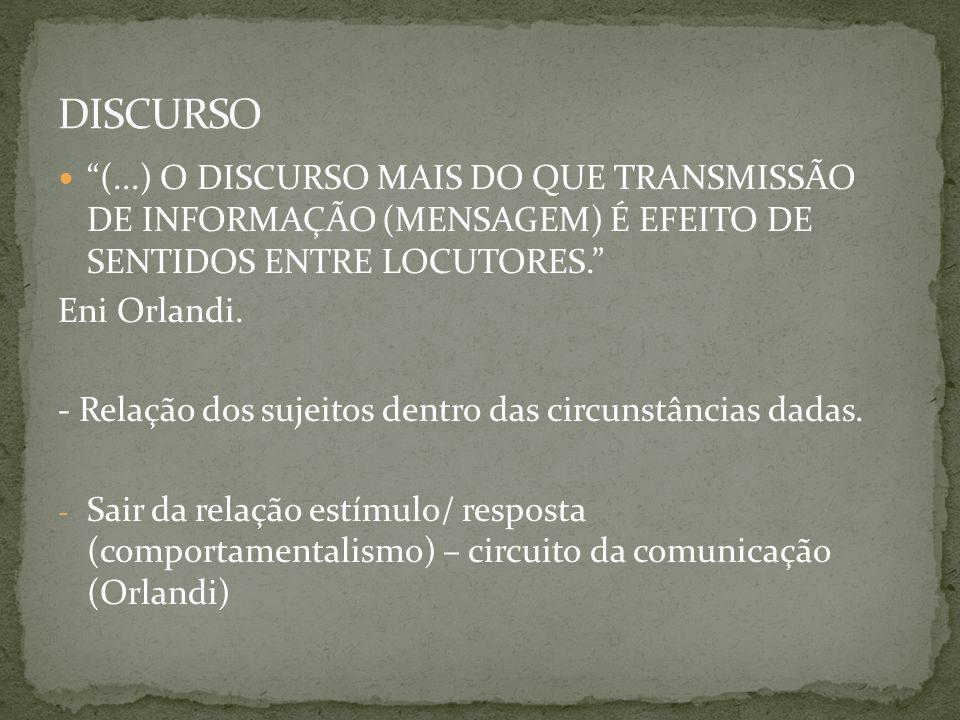 (...) O DISCURSO MAIS DO QUE TRANSMISSÃO DE INFORMAÇÃO (MENSAGEM) É EFEITO DE SENTIDOS ENTRE LOCUTORES. Eni Orlandi. - Relação dos sujeitos dentro das