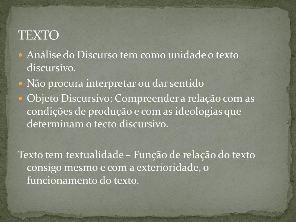 Análise do Discurso tem como unidade o texto discursivo. Não procura interpretar ou dar sentido Objeto Discursivo: Compreender a relação com as condiç