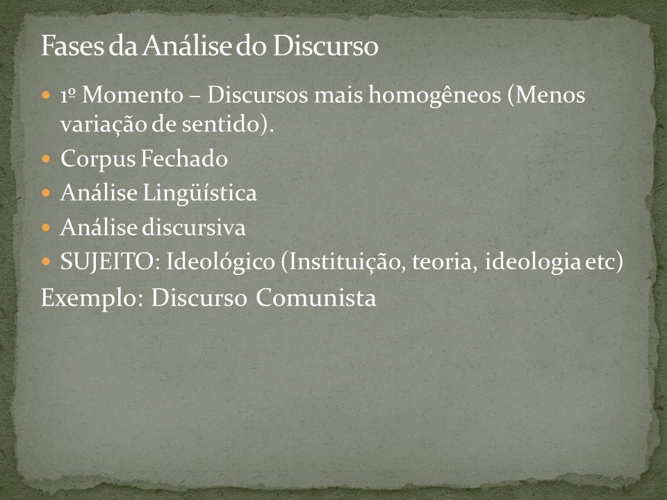 1º Momento – Discursos mais homogêneos (Menos variação de sentido). Corpus Fechado Análise Lingüística Análise discursiva SUJEITO: Ideológico (Institu