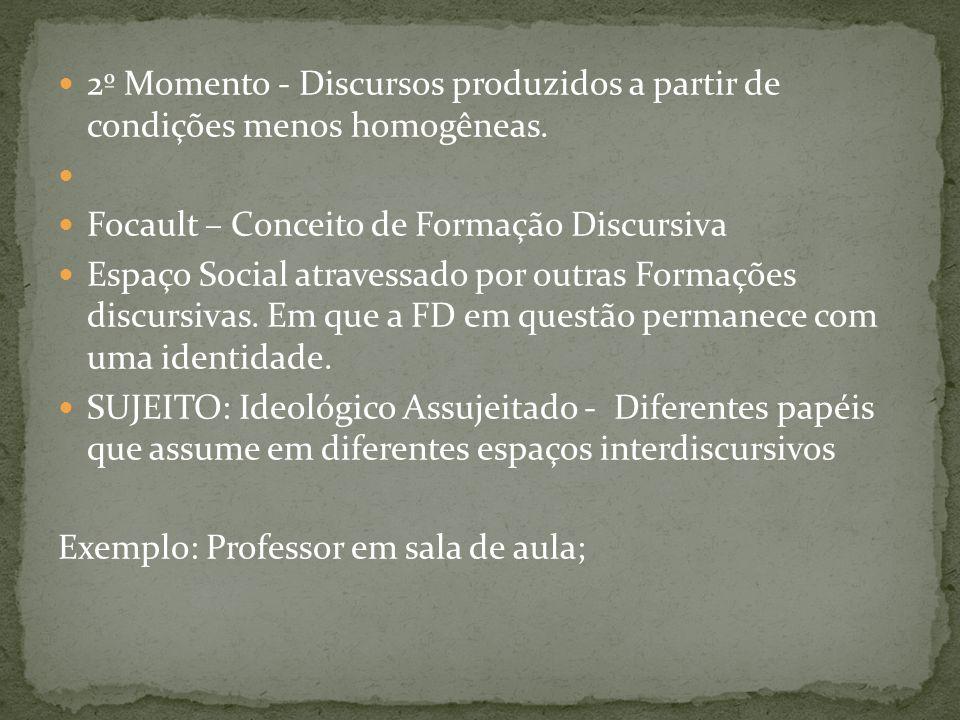 2º Momento - Discursos produzidos a partir de condições menos homogêneas. Focault – Conceito de Formação Discursiva Espaço Social atravessado por outr