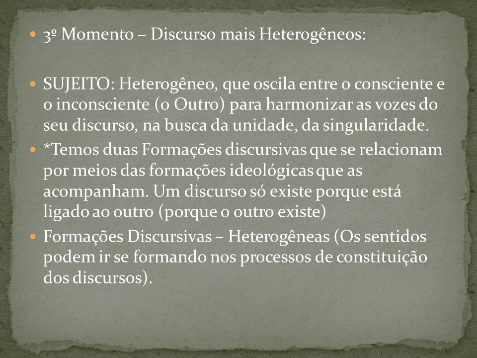 3º Momento – Discurso mais Heterogêneos: SUJEITO: Heterogêneo, que oscila entre o consciente e o inconsciente (o Outro) para harmonizar as vozes do se