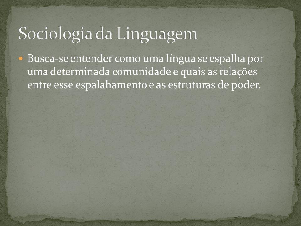 Busca-se entender como uma língua se espalha por uma determinada comunidade e quais as relações entre esse espalahamento e as estruturas de poder.