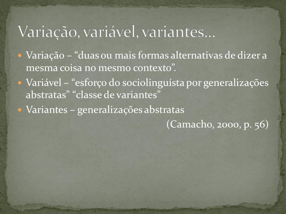 Variação – duas ou mais formas alternativas de dizer a mesma coisa no mesmo contexto. Variável – esforço do sociolinguísta por generalizações abstrata
