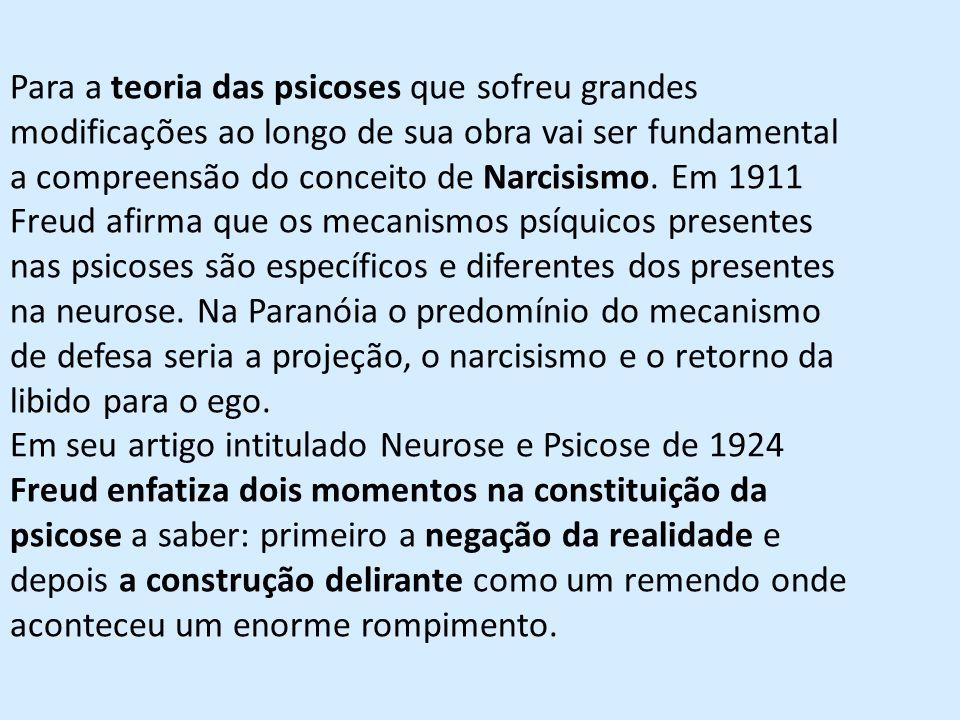Para a teoria das psicoses que sofreu grandes modificações ao longo de sua obra vai ser fundamental a compreensão do conceito de Narcisismo. Em 1911 F