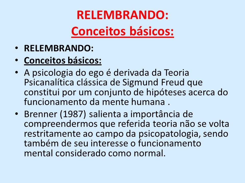 RELEMBRANDO: Conceitos básicos: RELEMBRANDO: Conceitos básicos: A psicologia do ego é derivada da Teoria Psicanalítica clássica de Sigmund Freud que c