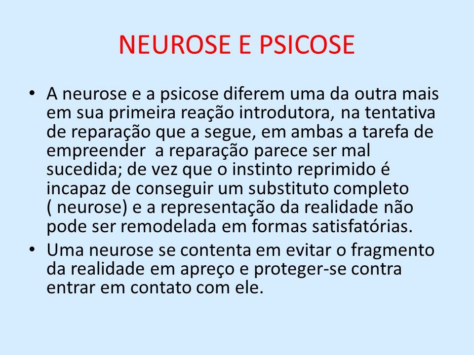 NEUROSE E PSICOSE A neurose e a psicose diferem uma da outra mais em sua primeira reação introdutora, na tentativa de reparação que a segue, em ambas