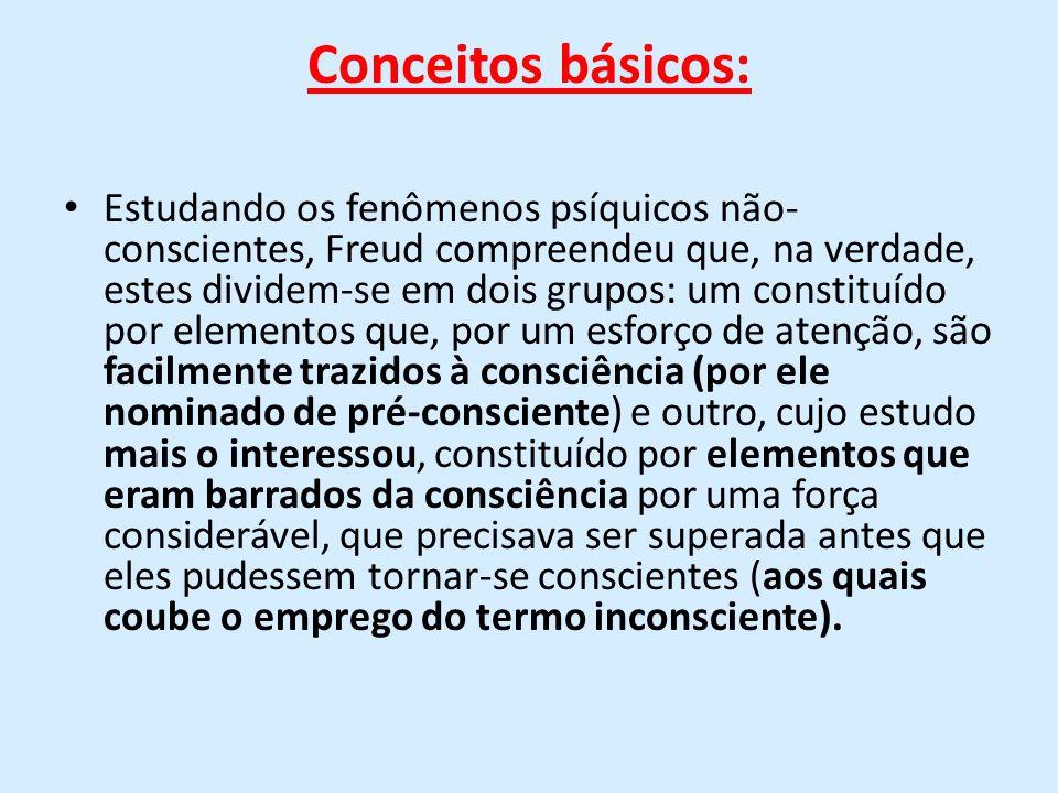 Conceitos básicos: Estudando os fenômenos psíquicos não- conscientes, Freud compreendeu que, na verdade, estes dividem-se em dois grupos: um constituí
