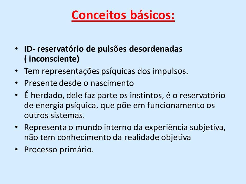 Conceitos básicos: ID- reservatório de pulsões desordenadas ( inconsciente) Tem representações psíquicas dos impulsos. Presente desde o nascimento É h
