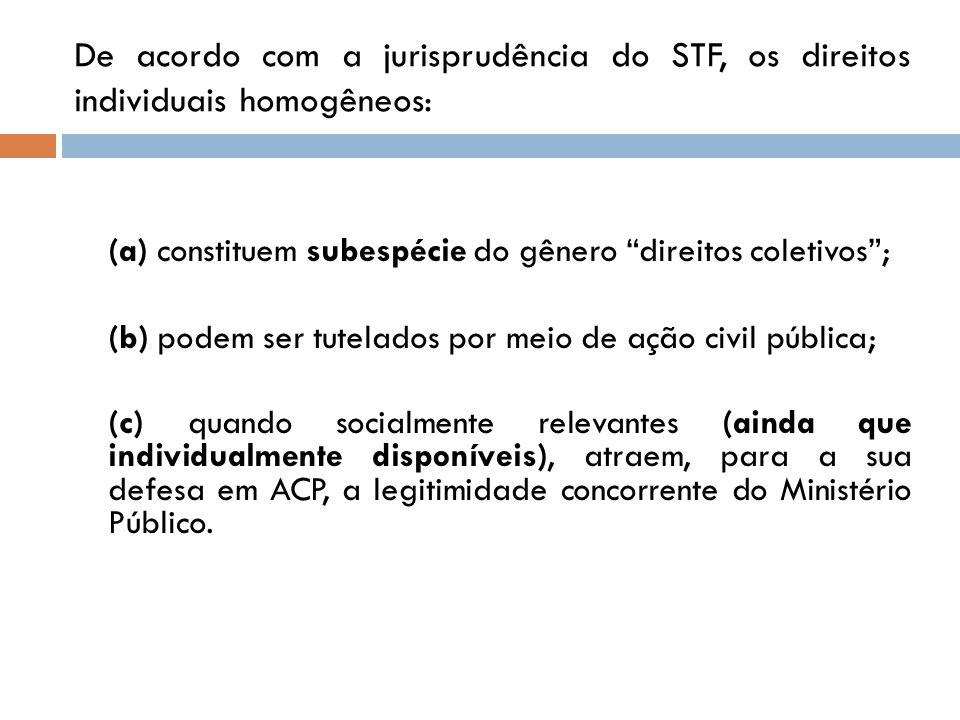 De acordo com a jurisprudência do STF, os direitos individuais homogêneos: (a) constituem subespécie do gênero direitos coletivos; (b) podem ser tutel