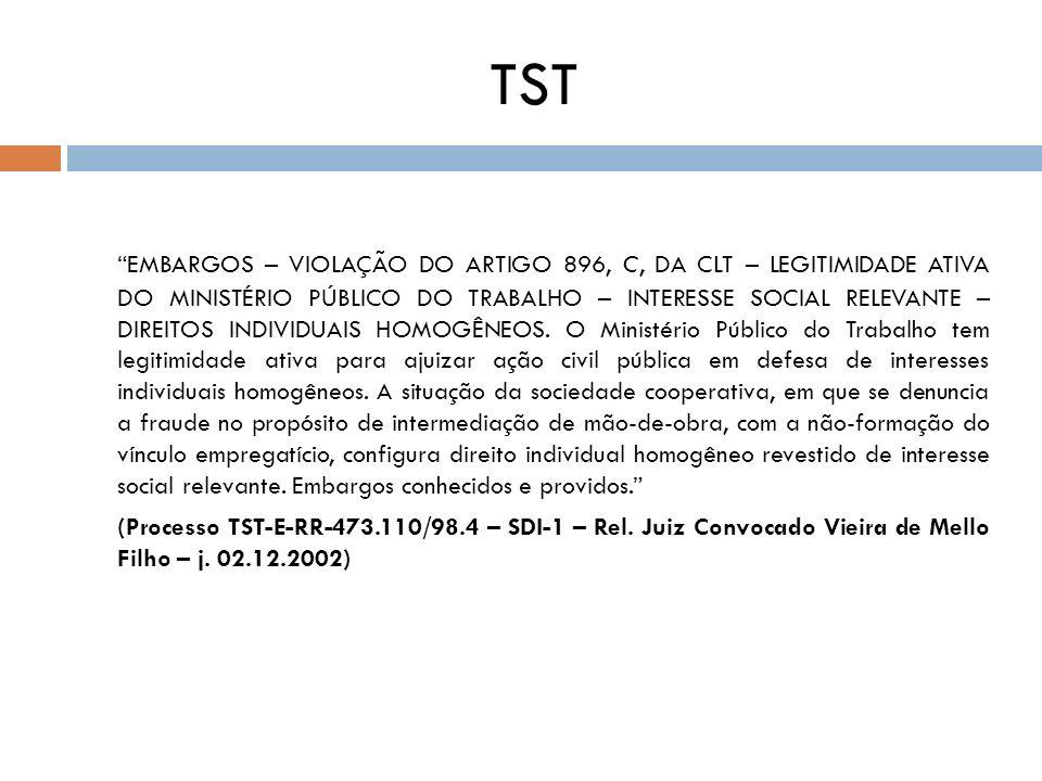 TST EMBARGOS – VIOLAÇÃO DO ARTIGO 896, C, DA CLT – LEGITIMIDADE ATIVA DO MINISTÉRIO PÚBLICO DO TRABALHO – INTERESSE SOCIAL RELEVANTE – DIREITOS INDIVI