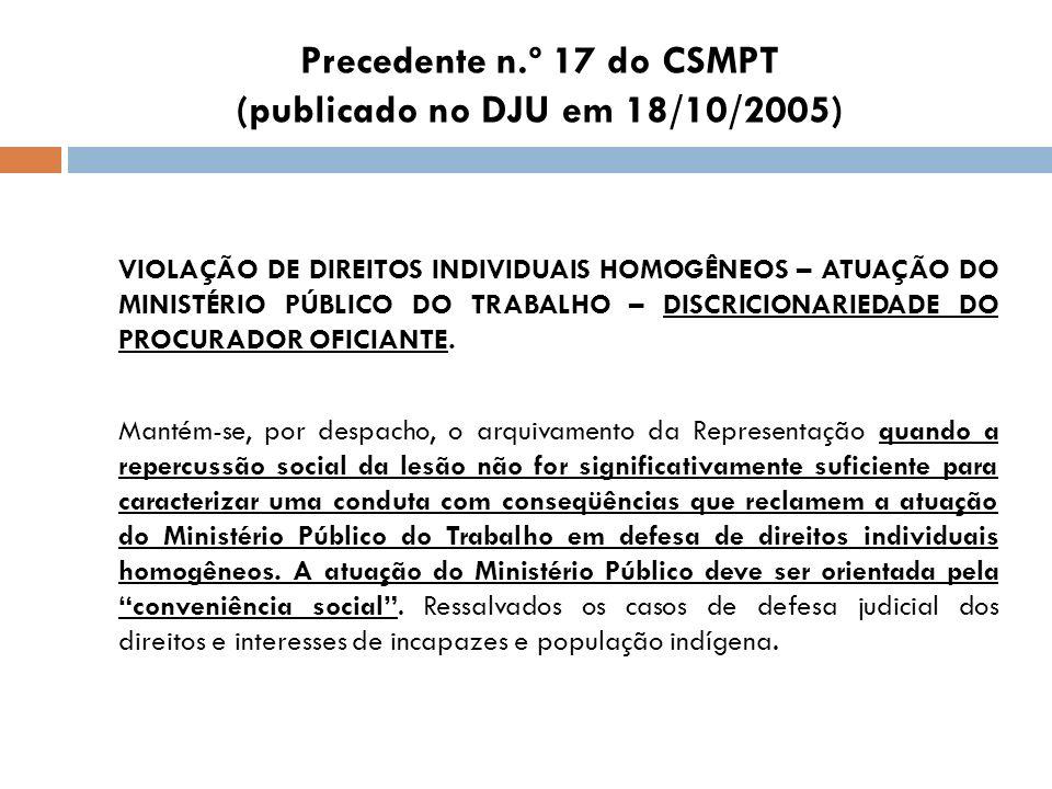 Precedente n.º 17 do CSMPT (publicado no DJU em 18/10/2005) VIOLAÇÃO DE DIREITOS INDIVIDUAIS HOMOGÊNEOS – ATUAÇÃO DO MINISTÉRIO PÚBLICO DO TRABALHO –