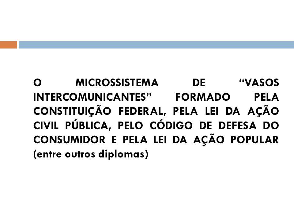 O MICROSSISTEMA DE VASOS INTERCOMUNICANTES FORMADO PELA CONSTITUIÇÃO FEDERAL, PELA LEI DA AÇÃO CIVIL PÚBLICA, PELO CÓDIGO DE DEFESA DO CONSUMIDOR E PE