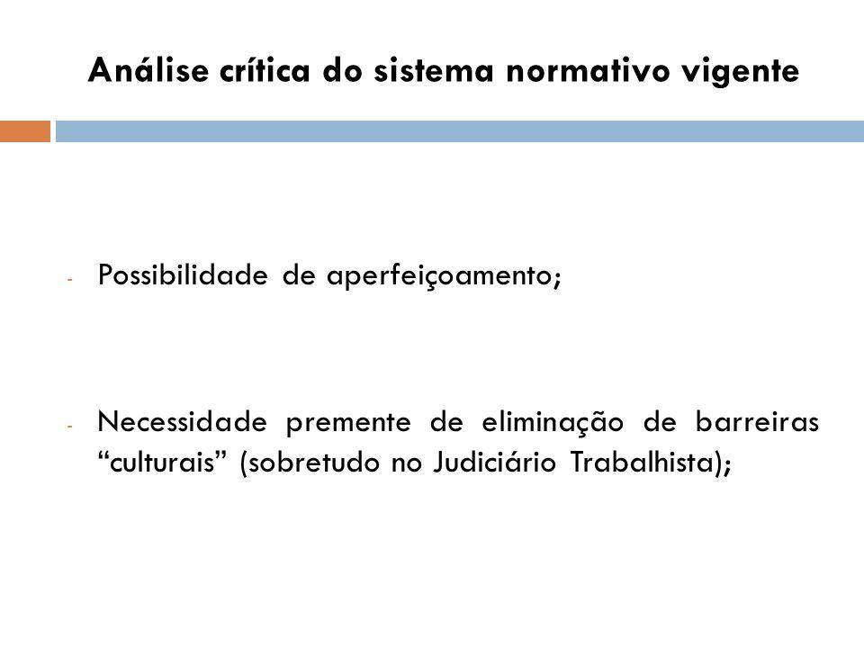 Análise crítica do sistema normativo vigente - Possibilidade de aperfeiçoamento; - Necessidade premente de eliminação de barreiras culturais (sobretud