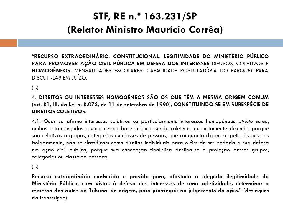 STF, RE n.º 163.231/SP (Relator Ministro Maurício Corrêa) RECURSO EXTRAORDINÁRIO. CONSTITUCIONAL. LEGITIMIDADE DO MINISTÉRIO PÚBLICO PARA PROMOVER AÇÃ