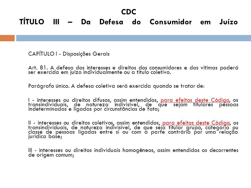 CDC TÍTULO III – Da Defesa do Consumidor em Juízo CAPÍTULO I - Disposições Gerais Art. 81. A defesa dos interesses e direitos dos consumidores e das v