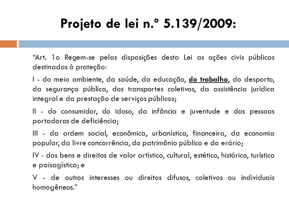 Projeto de lei n.º 5.139/2009: Art. 1o Regem-se pelas disposições desta Lei as ações civis públicas destinadas à proteção: I - do meio ambiente, da sa
