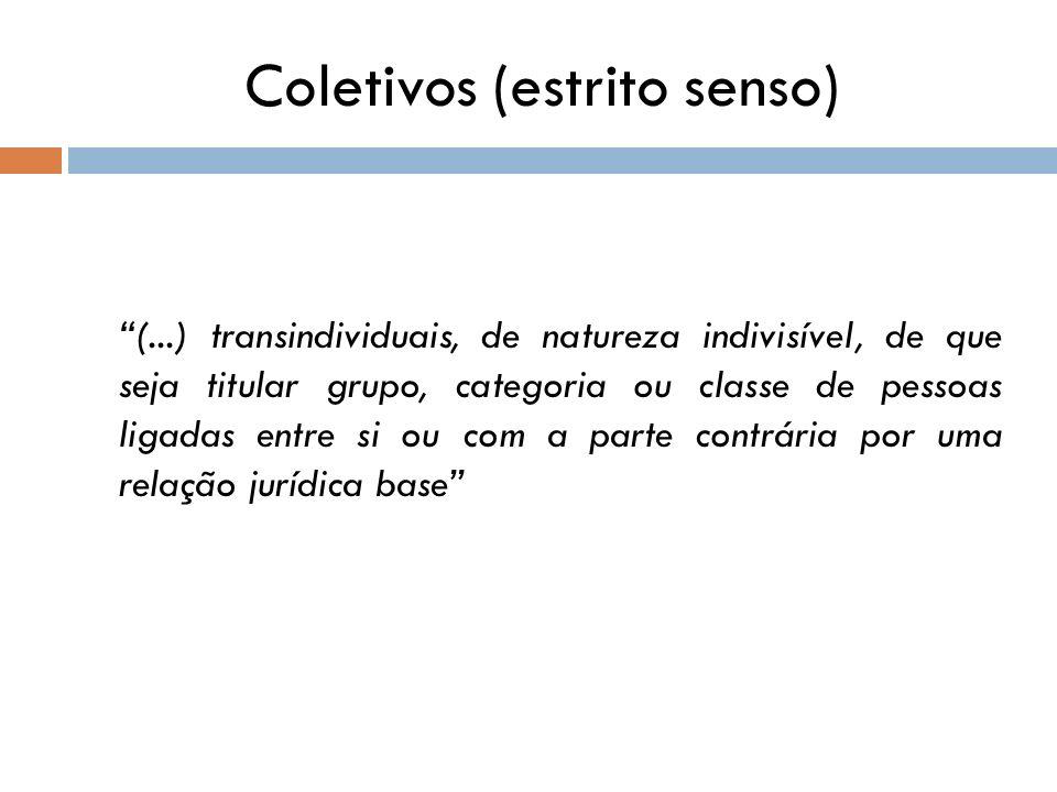 Coletivos (estrito senso) (...) transindividuais, de natureza indivisível, de que seja titular grupo, categoria ou classe de pessoas ligadas entre si