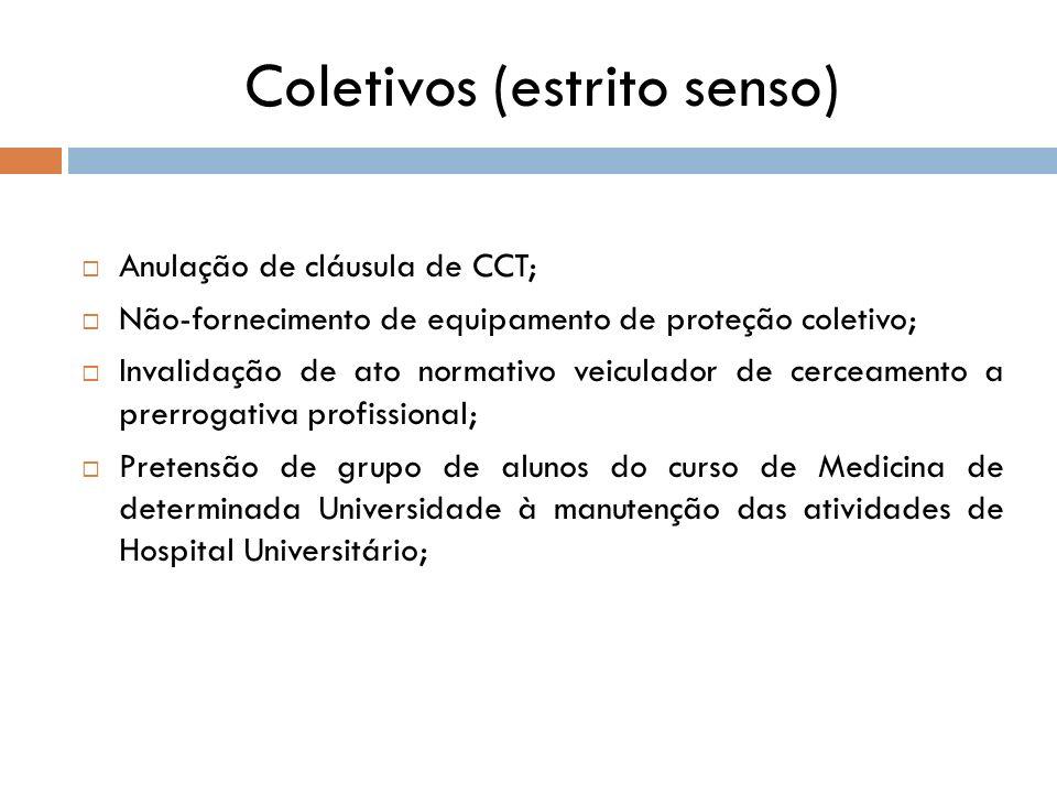 Coletivos (estrito senso) Anulação de cláusula de CCT; Não-fornecimento de equipamento de proteção coletivo; Invalidação de ato normativo veiculador d