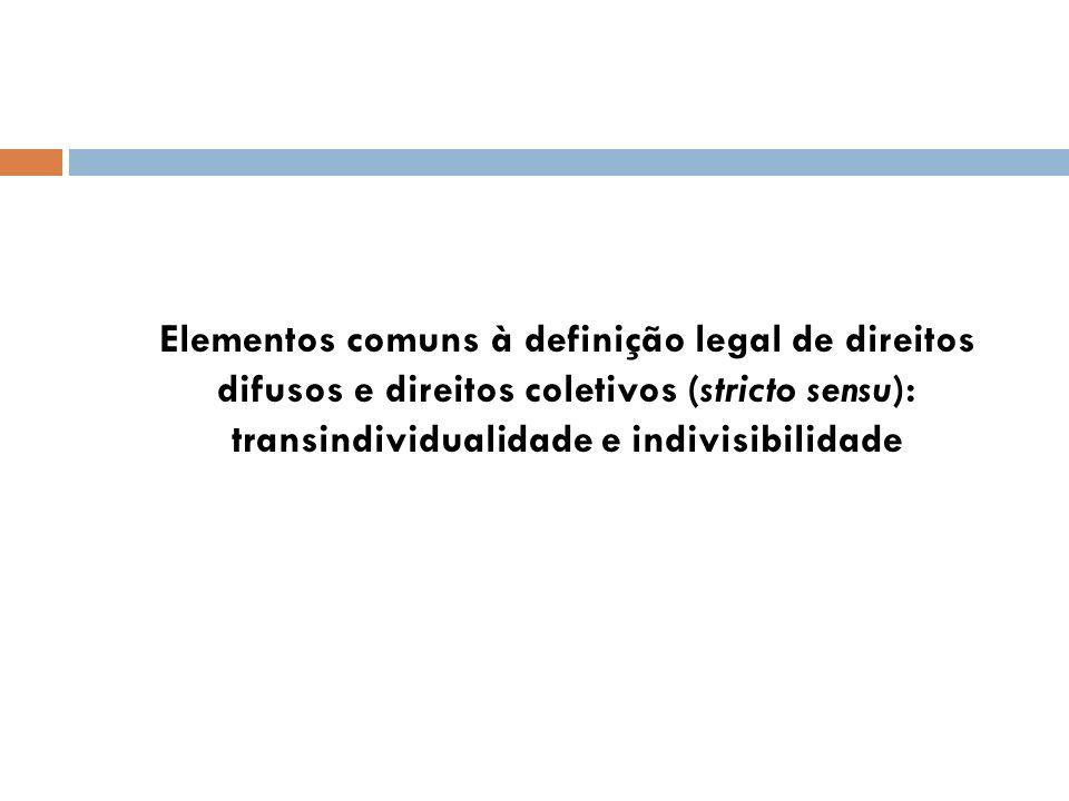 Elementos comuns à definição legal de direitos difusos e direitos coletivos (stricto sensu): transindividualidade e indivisibilidade