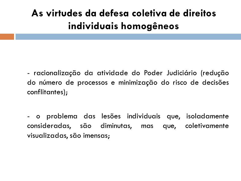 As virtudes da defesa coletiva de direitos individuais homogêneos - racionalização da atividade do Poder Judiciário (redução do número de processos e