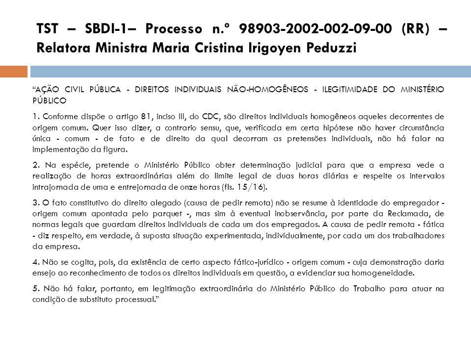 TST – SBDI-1– Processo n.º 98903-2002-002-09-00 (RR) – Relatora Ministra Maria Cristina Irigoyen Peduzzi AÇÃO CIVIL PÚBLICA - DIREITOS INDIVIDUAIS NÃO