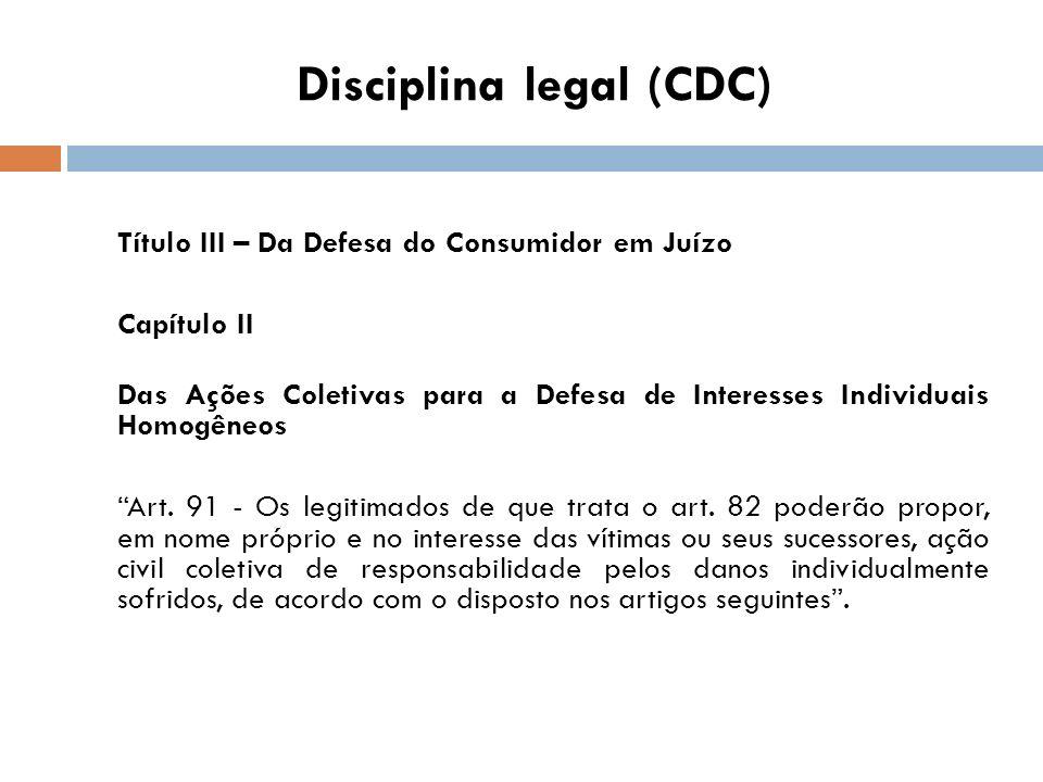Disciplina legal (CDC) Título III – Da Defesa do Consumidor em Juízo Capítulo II Das Ações Coletivas para a Defesa de Interesses Individuais Homogêneo