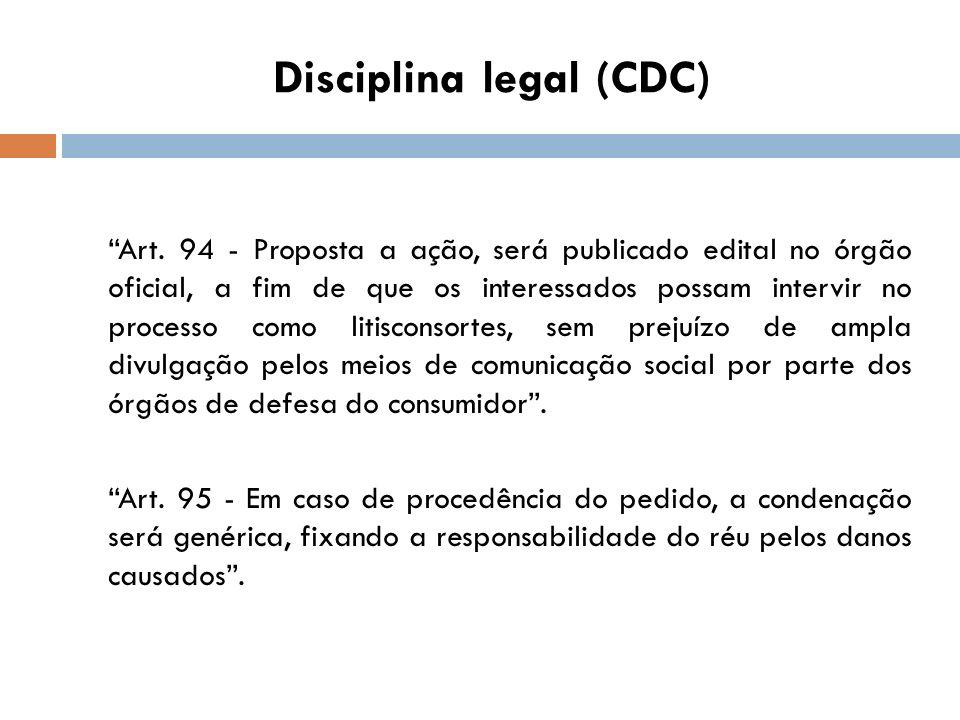 Disciplina legal (CDC) Art. 94 - Proposta a ação, será publicado edital no órgão oficial, a fim de que os interessados possam intervir no processo com