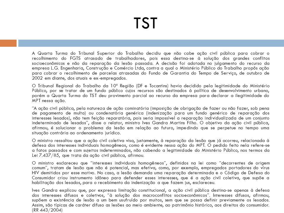 TST A Quarta Turma do Tribunal Superior do Trabalho decidiu que não cabe ação civil pública para cobrar o recolhimento do FGTS atrasado de trabalhador